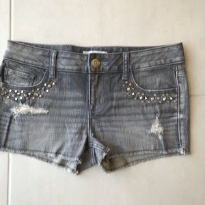 Express Distressed Studded Cut Off Shorts
